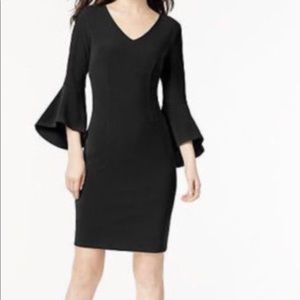 INC V-Neck Bell Sleeve Black Sheath Dress